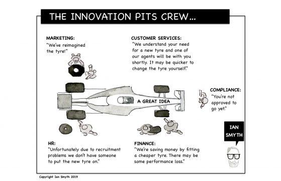 Various company departments hampering the progress of a good idea
